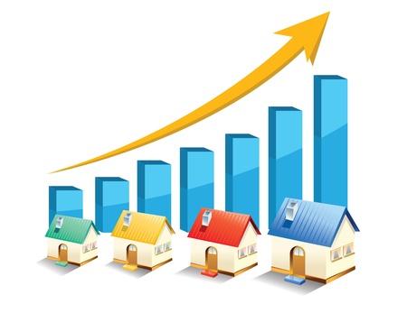 Ilustración de growth in real estate shown on chart  - Imagen libre de derechos