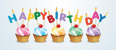 Illustration pour happy birthday cupcake - image libre de droit