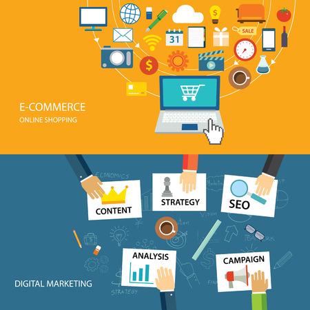 Illustration pour digital marketing and e-commerce flat design - image libre de droit