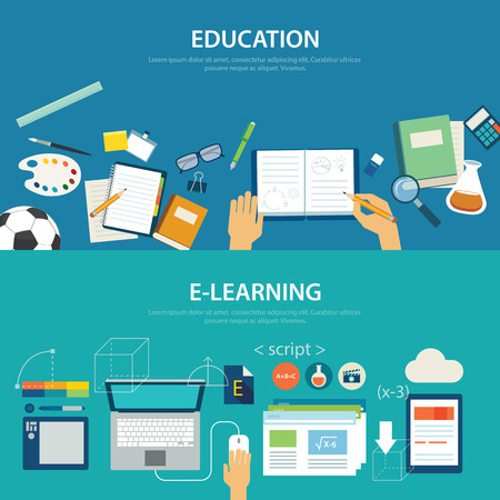 Foto de concepts of education and e-learning flat design - Imagen libre de derechos
