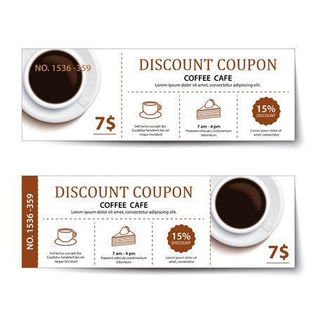 Illustration pour coffee coupon discount  template design. - image libre de droit