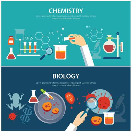 Illustration pour chemistry and biology education concept - image libre de droit