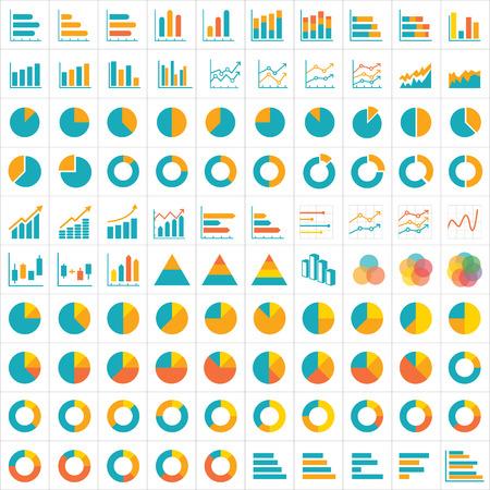 Illustration pour 100 graph and chart infographic icon flat design - image libre de droit