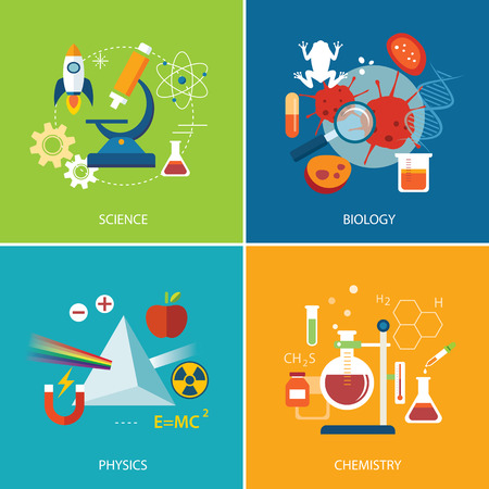 Illustration pour science concept ,physics ,chemistry,biology flat design - image libre de droit