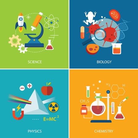 Ilustración de science concept ,physics ,chemistry,biology flat design - Imagen libre de derechos