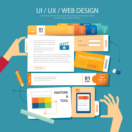 Illustration pour web design,ui ,ux, wireframe concept flat design - image libre de droit