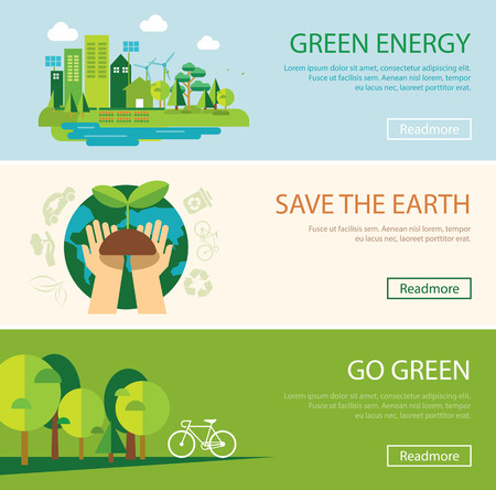 Ilustración de save the world and green energy concept web banner - Imagen libre de derechos
