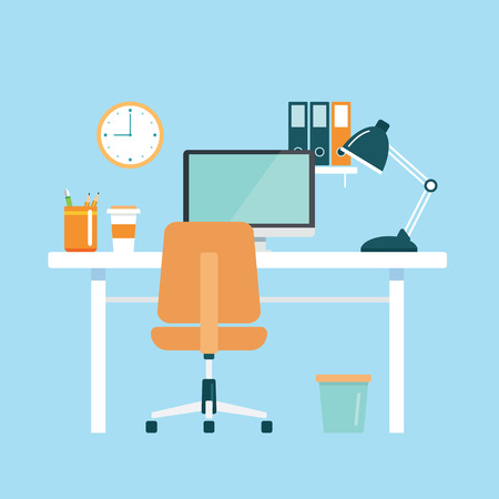 Illustration pour office workplace flat design - image libre de droit