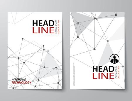 Illustration pour set of abstract technology business magazine cover , flyer, brochure flat design template - image libre de droit