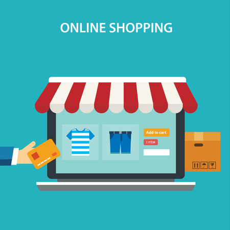 Ilustración de online shopping concept flat design - Imagen libre de derechos