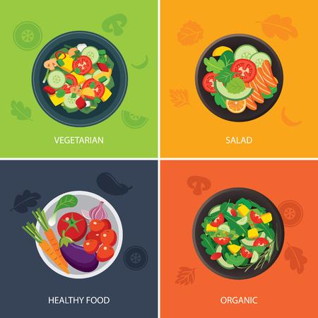 Illustration pour food web banner flat design. vegetarian , organic food, healthy food - image libre de droit