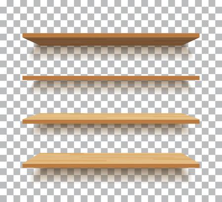 Illustration pour empty wooden shelf isolated background - image libre de droit