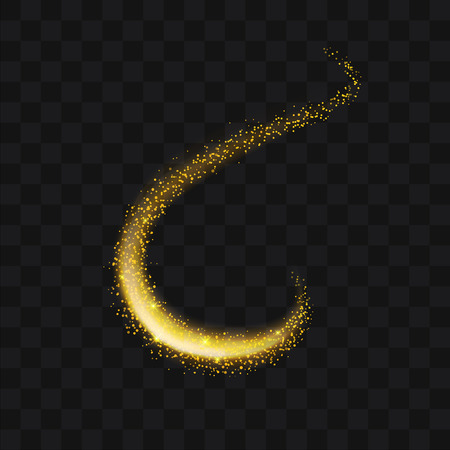 Ilustración de Gold glittering trail sparkling stardust abstract particles on background. Use for your product element. - Imagen libre de derechos