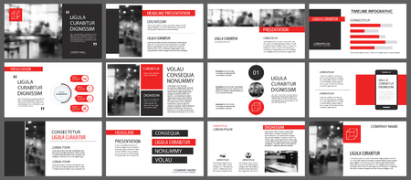 Ilustración de Red presentation templates for slide show background. Infographic elements for business annual report, flyer, corporate marketing, leaflet, brochure and banner. - Imagen libre de derechos