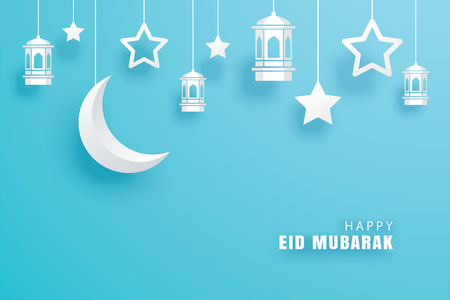 Illustration for Happy Eid Mubarak greeting card with crescent moon paper art background. Ramadan Kareem vector illustration. Use for banner, poster, flyer, brochure template. - Royalty Free Image