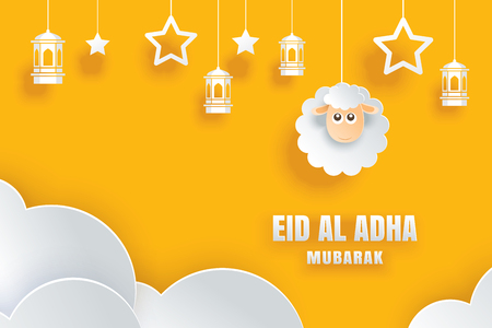 Illustration for Eid Al Adha Mubarak celebration card with sheep in paper art yellow background. Use for banner, poster, flyer, brochure sale template. - Royalty Free Image