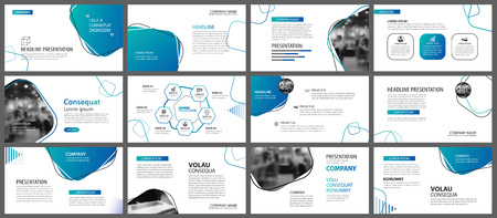 Ilustración de Presentation and slide layout background. Design blue and green gradient geometric template. Use for business annual report, flyer, marketing, leaflet, advertising, brochure, modern style. - Imagen libre de derechos