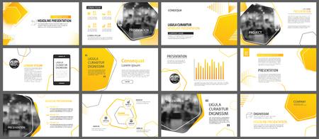 Ilustración de Presentation and slide layout background. Design yellow and orange gradient geometric template. Use for business annual report, flyer, marketing, leaflet, advertising, brochure, modern style. - Imagen libre de derechos