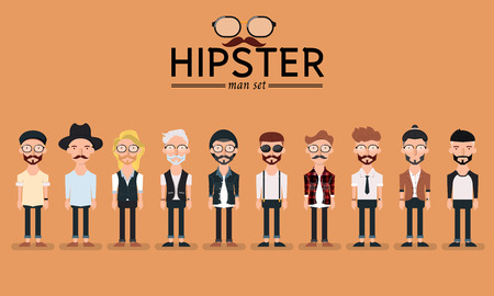 Ilustración de Hipster style bearded man, character set collection-vector illustration - Imagen libre de derechos