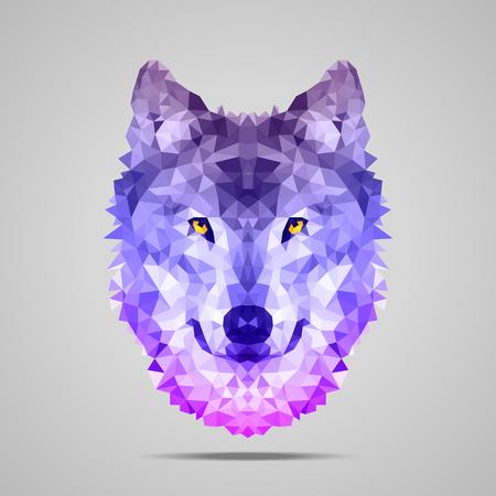 Ilustración de Wolf low poly portrait. Symmetric purple gradient. Abstract polygonal illustration. - Imagen libre de derechos