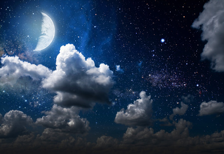 Foto de backgrounds night sky with stars and moon and clouds. wood. Elements of this image furnished by NASA - Imagen libre de derechos