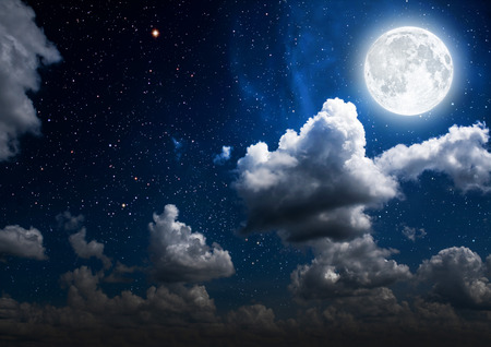 Photo for backgrounds night sky with stars and moon and clouds. wood. Elements of this image furnished by NASA - Royalty Free Image