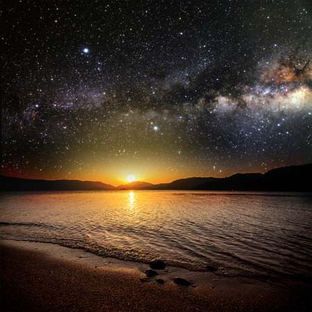 Photo pour month on a background star sky reflected in the sea. Elements of this image furnished by NASA - image libre de droit