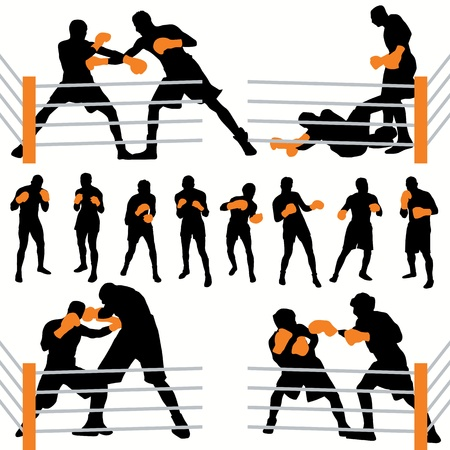 Boxing silhouettes set