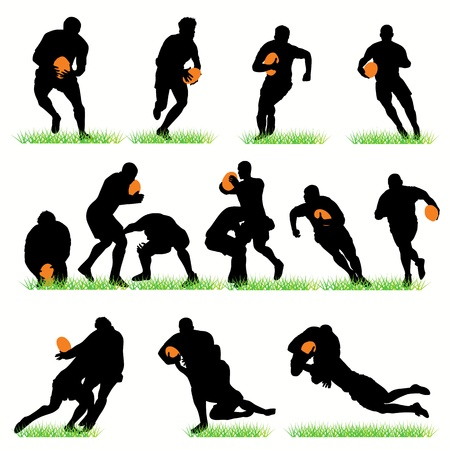 Rugby players silhouettes set