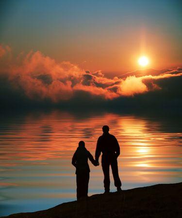 Photo for Couple on sunset - Royalty Free Image