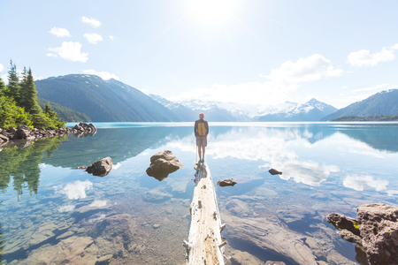 Photo pour Hike on Garibaldi Lake near Whistler, BC, Canada. - image libre de droit
