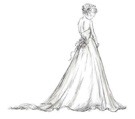 Foto für Bride  Beautiful young girl in a wedding dress  EPS 10 vector illustration  - Lizenzfreies Bild