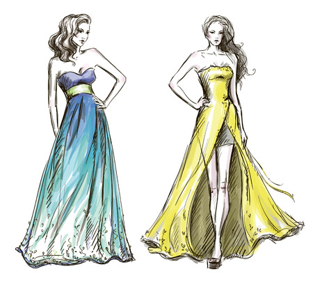 Illustration pour Fashion illustration  Long dress  Catwalk  - image libre de droit