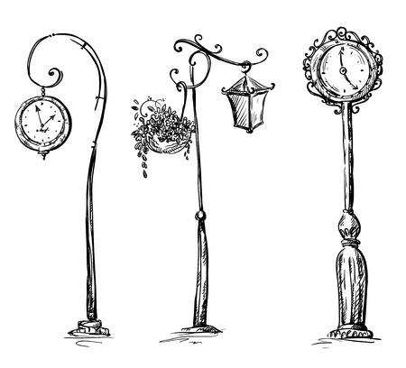 Illustrazione per Street clocks and a lamp post - Immagini Royalty Free