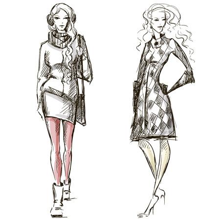Ilustración de Fashion illustration winter style sketch hand drawn - Imagen libre de derechos