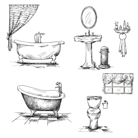 Illustration for Bathroom interior elements - Royalty Free Image
