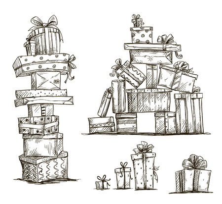 Illustration for Piles of presents  Doodle heaps of gift boxes  Vector illustration   - Royalty Free Image