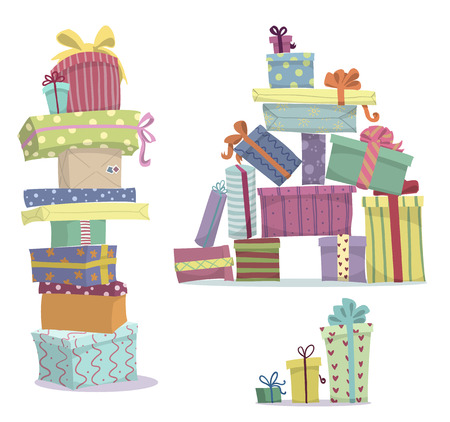 Illustration for Piles of presents  Doodle heaps of gift boxes - Royalty Free Image
