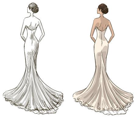 Ilustración de Bride  Beautiful young girl in a wedding dress  Long dress with a tail  Black and withe and color variants   - Imagen libre de derechos