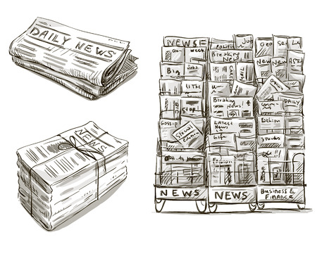 Illustration for Press  Newspaper stand  Newsstand  Vector illustration  Hand drawn   - Royalty Free Image