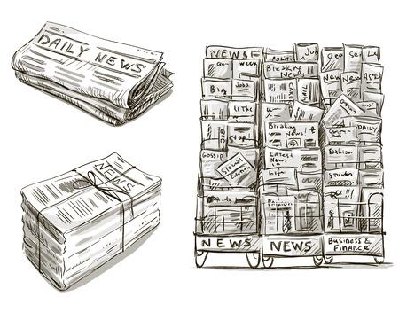 Illustration pour Press  Newspaper stand  Newsstand  Vector illustration  Hand drawn   - image libre de droit