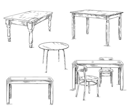 Ilustración de set of hand drawn tables, vector illustration - Imagen libre de derechos