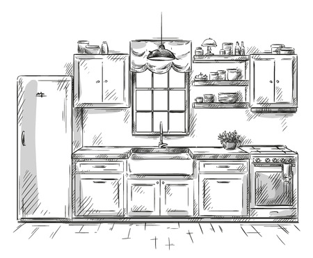 Illustration pour Kitchen interior drawing, vector illustration - image libre de droit