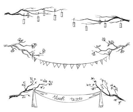 Illustration pour Doodle tree branches. Decorations. Vector illustration. - image libre de droit
