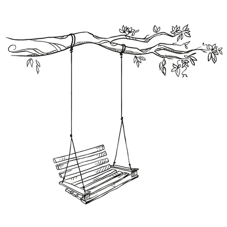 Illustration for tree with a swing. Vector illustration. - Royalty Free Image