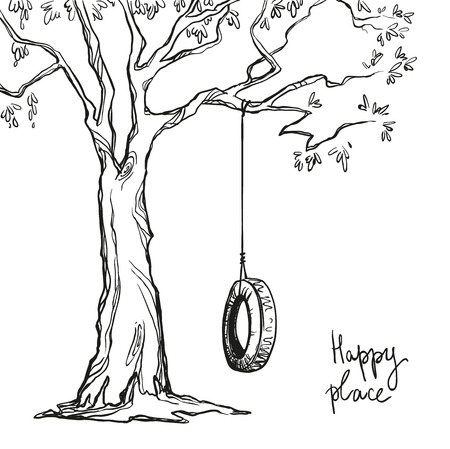 Ilustración de tree with a tyre swing. Vector illustration. - Imagen libre de derechos