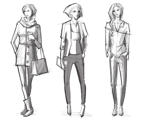 Ilustración de Fashion hand drawn illustration. Vector sketch.street fashion. - Imagen libre de derechos
