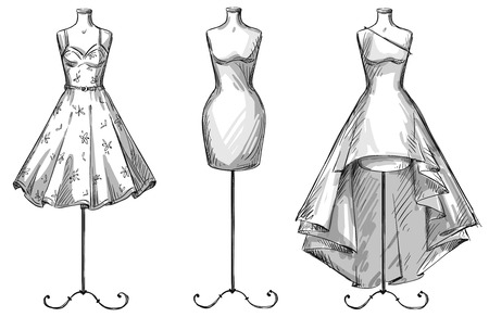 Illustration for Set of mannequins. Dummies with dresses. Fashion illustration - Royalty Free Image