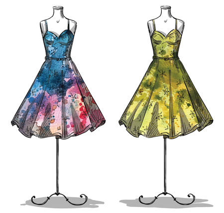 Illustration pour Dummies with dresses. Fashion illustration - image libre de droit