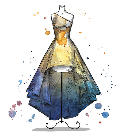 Photo pour Mannequin with a long dress. Fashion illustration. - image libre de droit